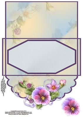 Pretty pansies money wallet on Craftsuprint designed by Amanda McGee - A money wallet that can be used for many occasions, with space to write a greeting on the back - Now available for download!