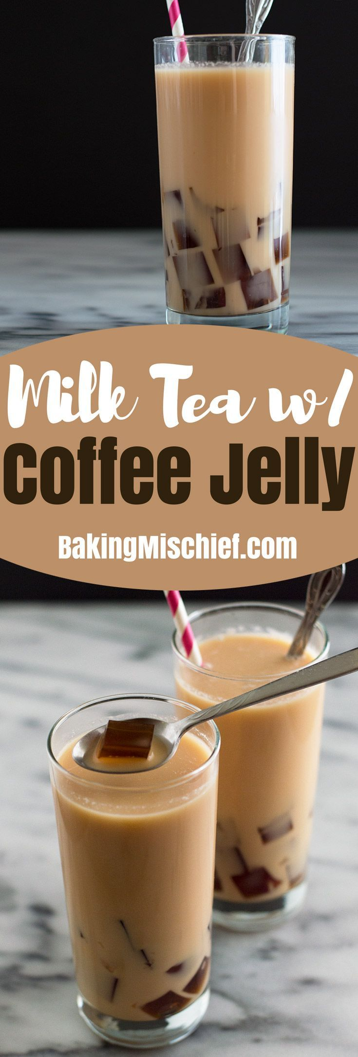 Cool and refreshing milk tea with coffee jelly is so easy to make and fun to drink. Make some and impress your friends. Recipe includes nutritional information. From BakingMischief.com