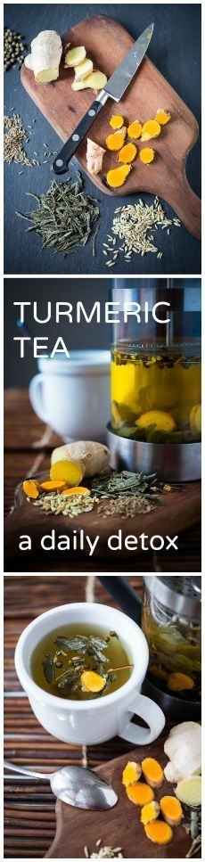 "Start off the new year off with this Ayurvedic  ""daily"" Detox Tea. Revs up the metabolism while it helps to eliminate toxins. #detoxtea #turmerictea"
