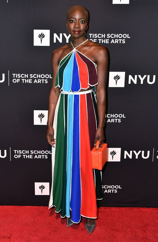 Danai Gurira in a striped two-piece with scalloped edges at the annual Tisch School Gala.