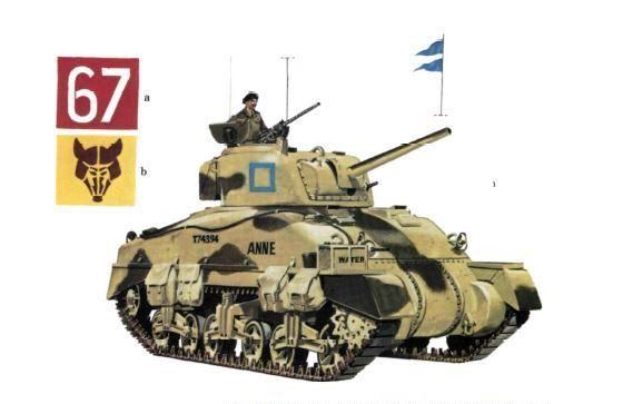 """Sherman II (M4A1) Escuadrón B, StafforshireYeomanry; 8ª Brigada, 10ª División Acorazada, Alamein; octubre 1942 Este Sherman con casco de fundición, número de serie T74394, no lleva número táctico o distintivo de formación, de haberlos llevados estos serian el """"67"""" blanco sobre fondo rojo y la mascara del zorro en amarillo arena y negro, el esquema de color es verde oscuro sobre piedra clara. Este regimiento fue prácticamente aniquilado en el Alamein."""