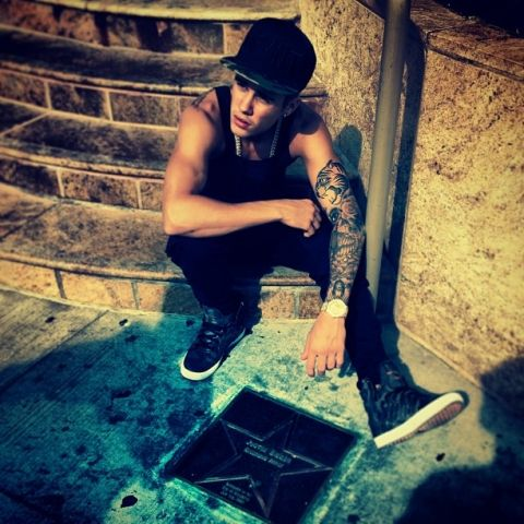 Justin Bieber with Walk of Star Outside of Avon Theatre in Stratford,Ontario,Canada