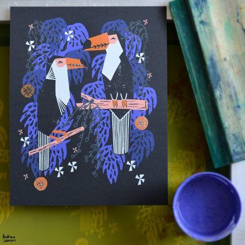 Toucans Silkscreen Print by Andrea Lauren Blog