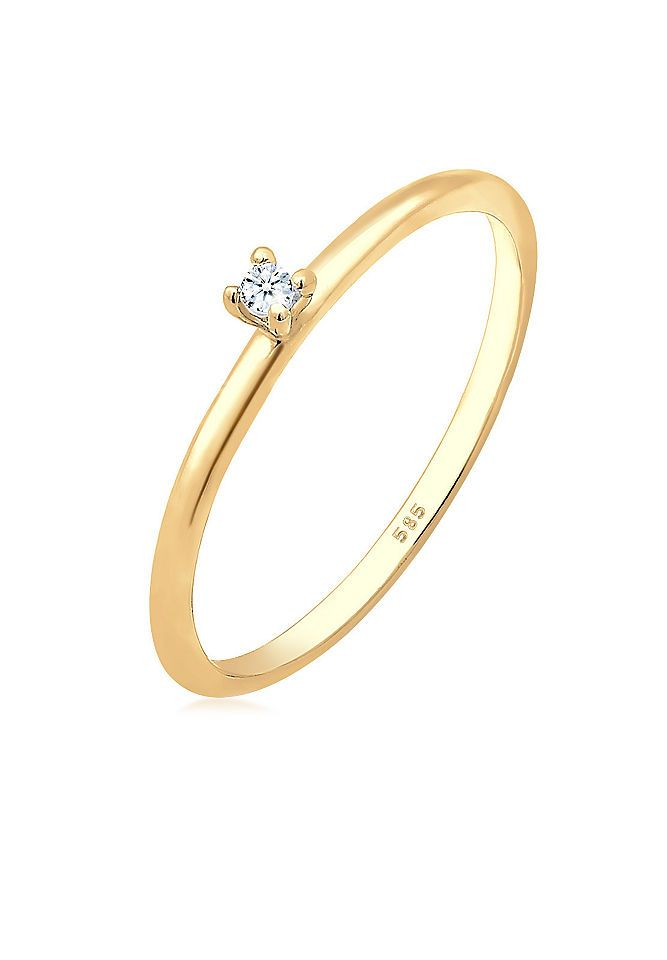 Diamore Ring »Verlobung Solitär Diamant (0.02 ct.) 585 Gelbgold« Jetzt bestellen unter: https://mode.ladendirekt.de/damen/schmuck/ringe/goldringe/?uid=602cd142-c54b-578c-aa40-37310ec890b8&utm_source=pinterest&utm_medium=pin&utm_campaign=boards #schmuck #ringe #keine #goldringe