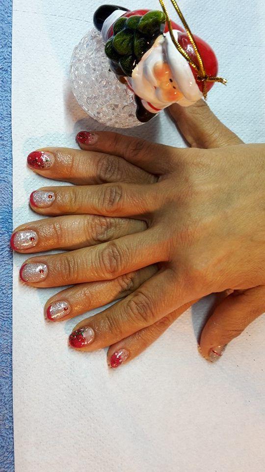 Renforcement gel sur ongles naturels + déco gel et nail art Noël