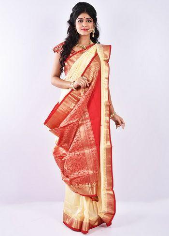 Buy Cream Kanjivaram Saree With Blouse-L6014