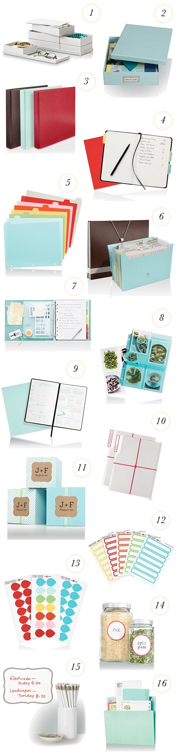 beautiful boxes, binders, notebooks, desktop accessories, labels, & files.
