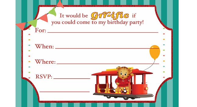 Daniel Tiger Birthday printables - Invitations, thank you card, coloring card & certificates