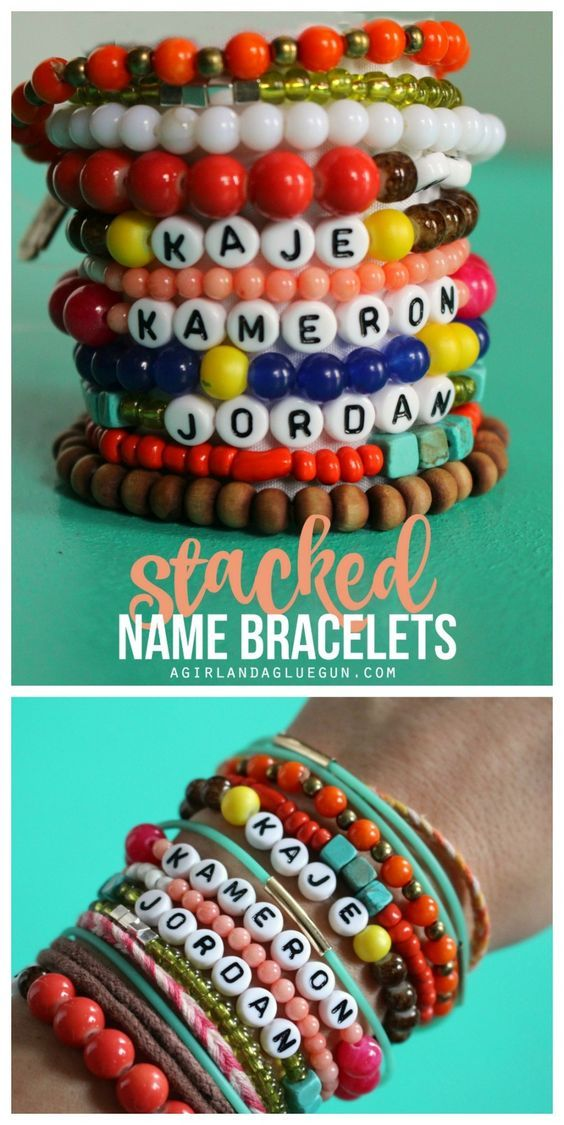 fun mothers day gift--stacked bracelets with kids names: