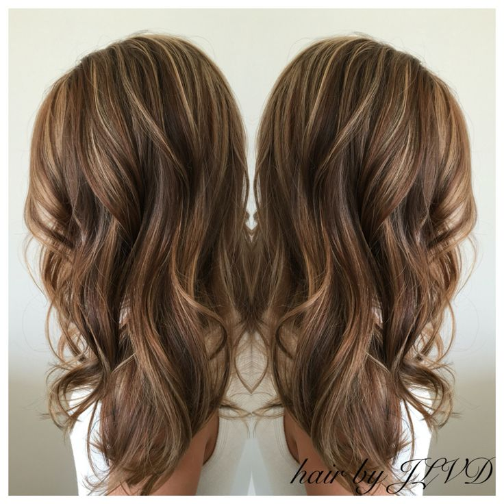 Beautiful fall ready hair, brunette highlights and lowlights, loose curls