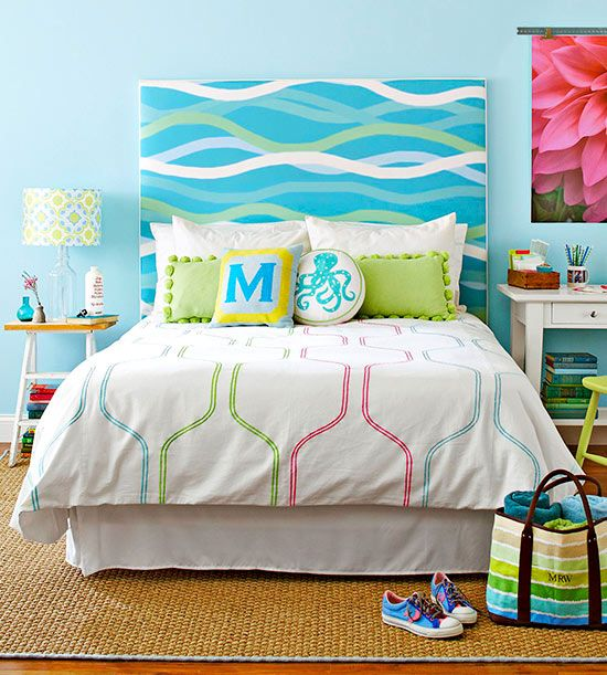 Fabric-Covered Headboard – plywood or particle board covered in fabric of choice? tie-dye hippie headboard?