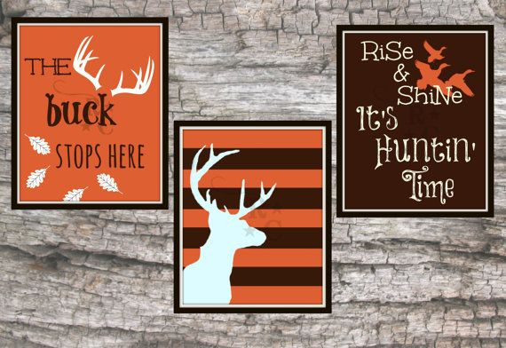Lot of 3 8X10 digital photo picture prints buck stops here hunting boys room decor wall art orange brown hunter ducks deer silhouette custom on Etsy, $7.99