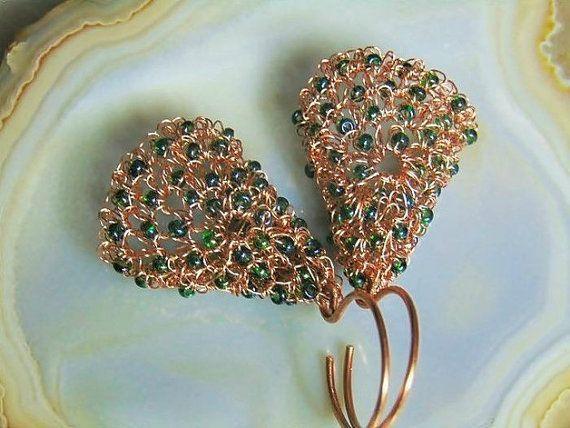 Wire crochet earrings copper earrings copper wire by styledonna