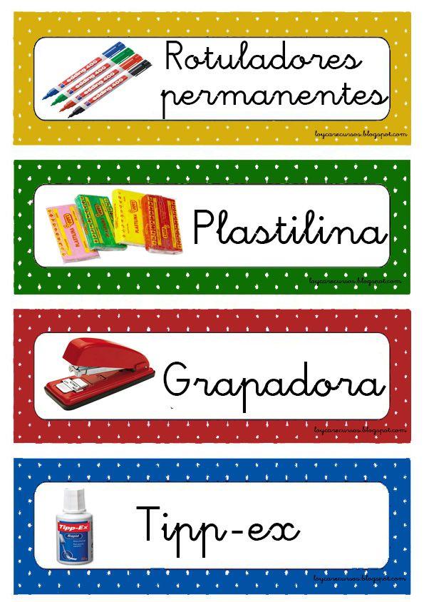 Acabo de terminar ahora mismo estas etiquetas para organizar los materiales.