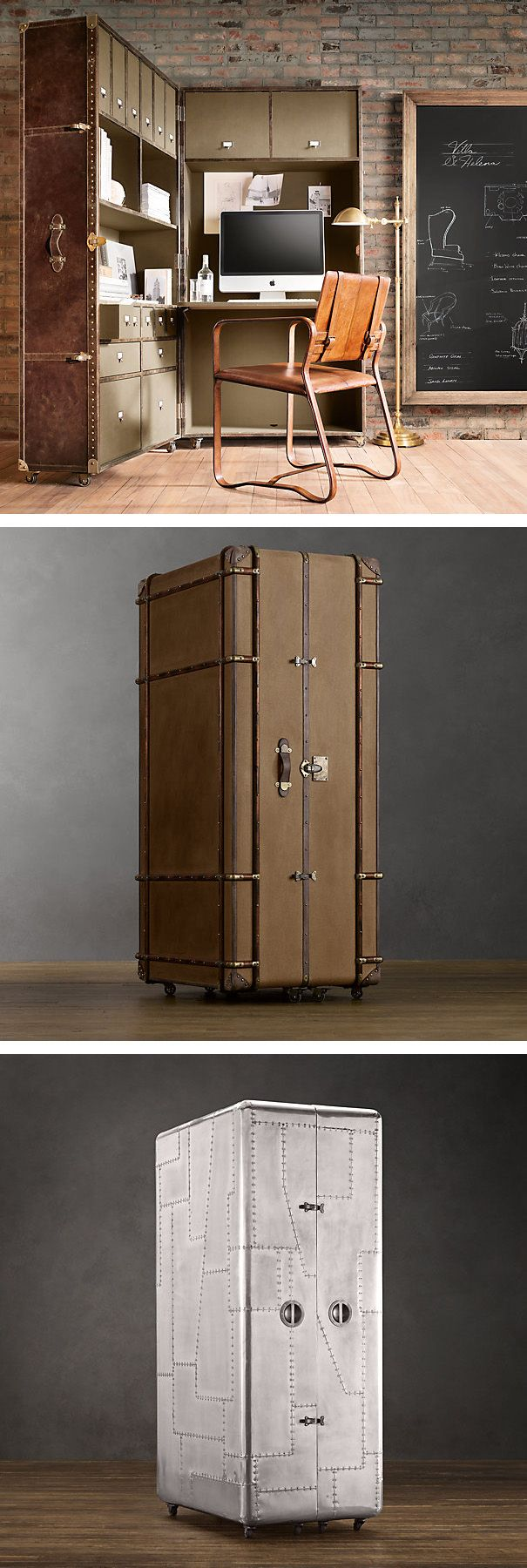 Restoration Hardware Trunk Secretaries up the ante – and the style factor – when it comes to hidden offices. Each one looks like an antique or unusual trunk and can almost serve as heirloom art; when open, it's a fully-equipped office on wheels.