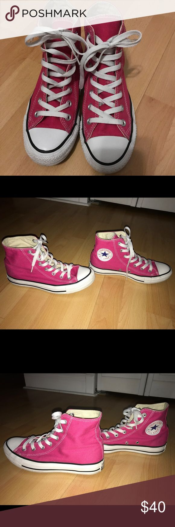 Pink High Top Converse Used but in great condition. Were only used a hand full of times. Very clean only a little dirty spot from the last picture but it's not very noticeable. Looks more noticeable in the picture because of the flash. Converse Shoes Sneakers