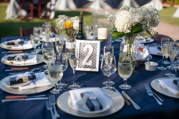 Navy Blue White And Silver Wedding Decorations : Navy blue silver and yellow wedding reception