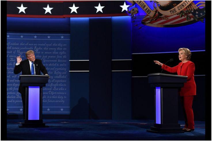 Headline: Debate 1 Slideshow  Sept. 26, 2016 Donald Trump speaks as Hillary Clinton gestures during the debate. Jewel Samad/AFP/Getty Images  (SLIDESHOW AT BOTTOM OF LINK)