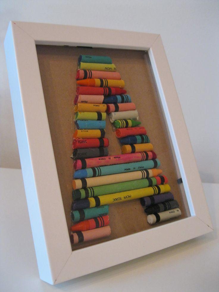 Kirjaintaulu väriliiduista lastenhuoneeseen- Crayon alphabet in frames