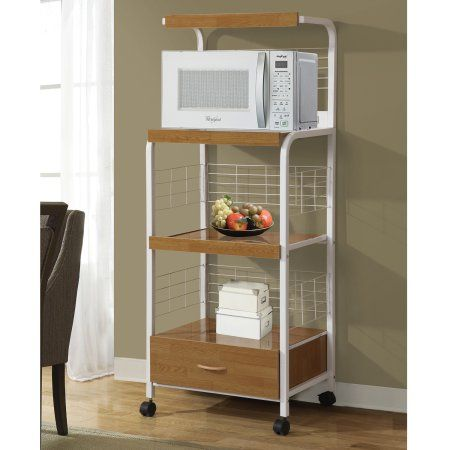 Home Source Gerard Beech and White Microwave Cart