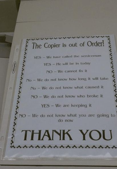 Funny Office Signs 05 Copier Out of Order