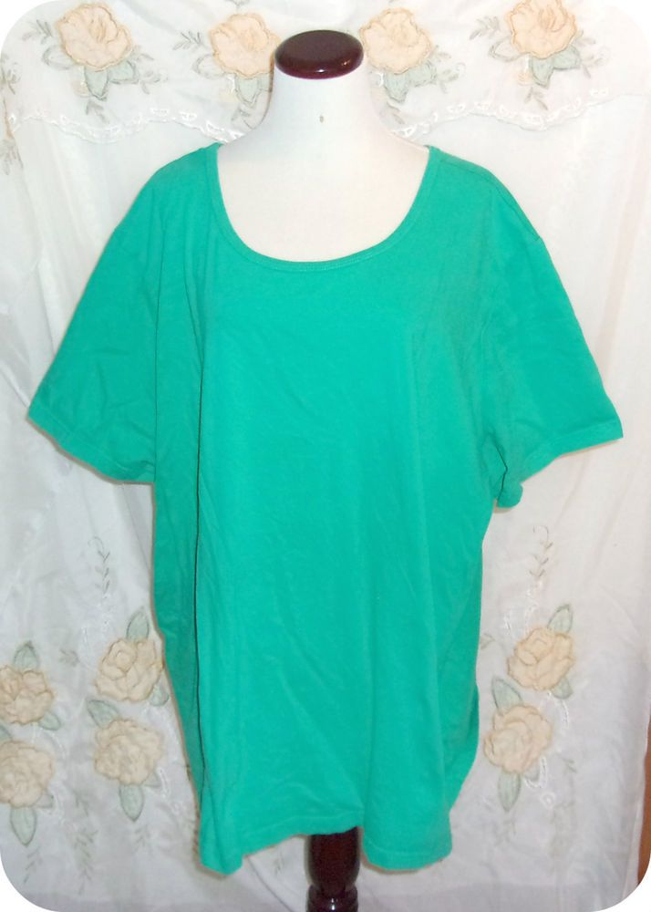 Only Necessities Womens Top Plus Size 4X Green Short Sleeve Cotton  #OnlyNecessities #KnitTop #CareerCasual #Fashion #Clothing #Womens #Plussize #Top #Size4X
