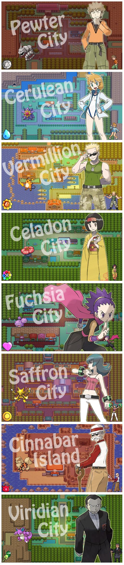 The Most Majestic Locations People Have Caught Pokémon Gym leaders, the badges and the cities in which they are located.