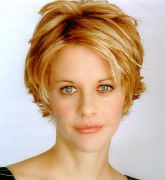 blonde hair actress Meg Ryan with very short length hairstyle with side bangs