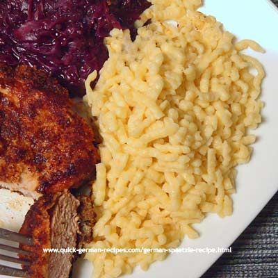 Oma's German Spätzle, homemade and delicious http://www.quick-german-recipes.com/german-spaetzle-recipe.html