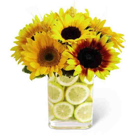 Lemon flower arrangement gerard and alysha s wedding