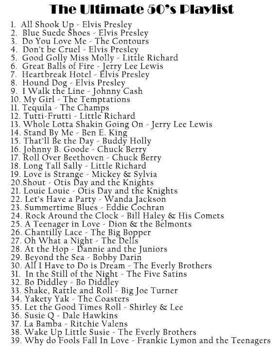 The Ultimate 1950s Playlist ADD At the Hop and some Grease songs!!☺