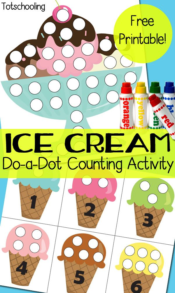 FREE ice cream themed printables to go along with Do-a-Dot markers. Practice counting, number recognition and one-to-one correspondence while decorating the ice cream cones and ice cream sundae.