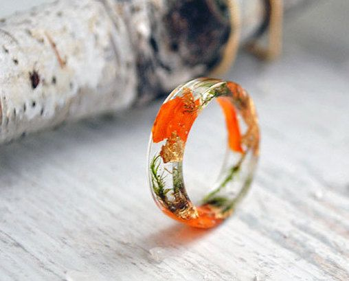 Eco resin ring-REAL FLOWER RING--nature inspired engagement rings-botanical jewelry-modern flower child nature rings -Everyday Jewelry