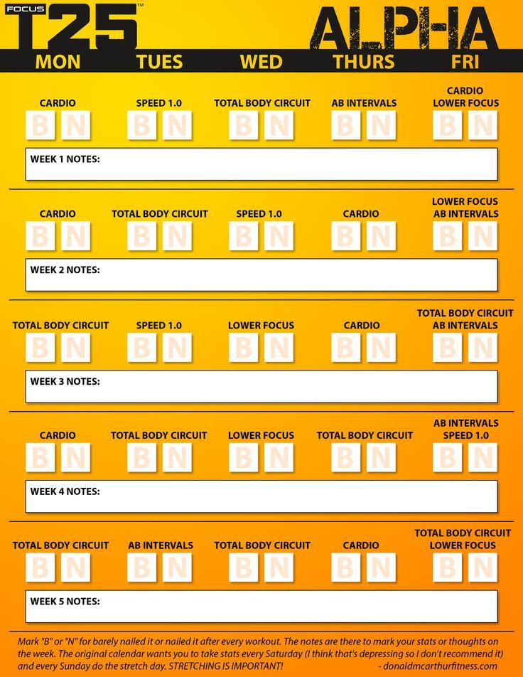 Focus T25 Alpha Calendar
