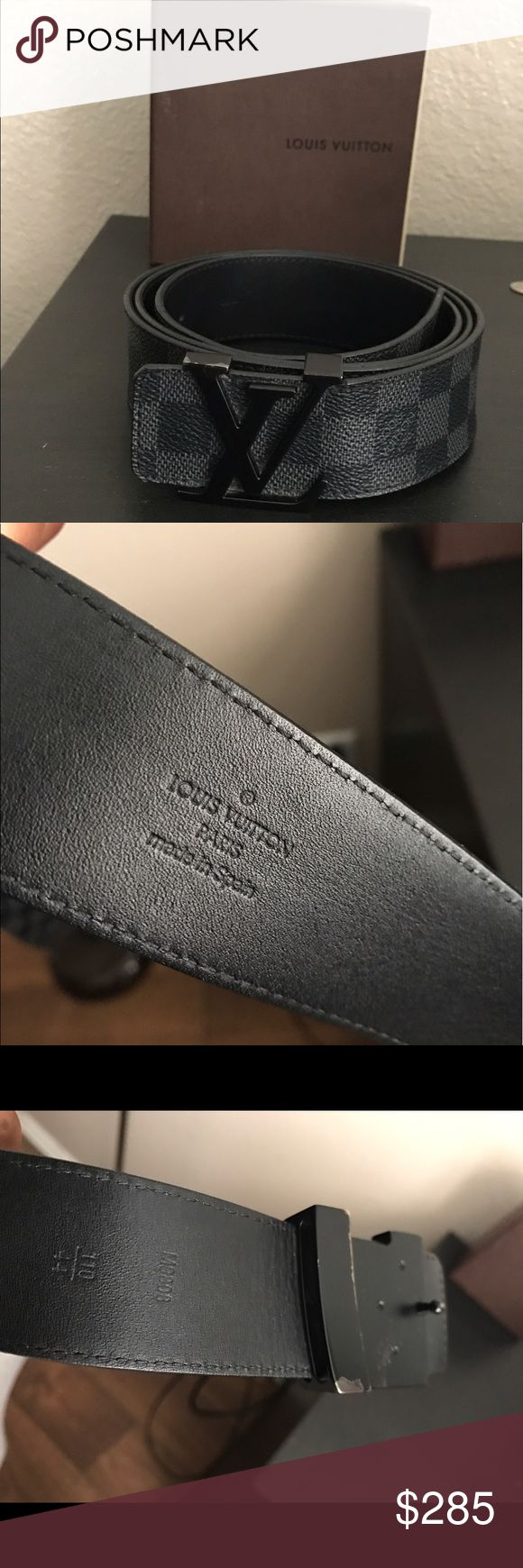Louis Vuitton Belt LV Initiales 40mm Belt Size US44/110cm Black Damier belt. Belt has scratches on the LV buckle. 100% guaranteed authentic. Nubuck leather lining. Accessories Belts