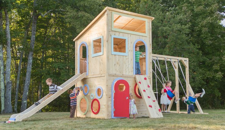 CedarWorks Playhouse 325: Don't have space for a kid's playhouse and an outdoor playset? CedarWorks modern two-story Playhouse 325 features a slide, climbing wall, lots of windows and a large indoor playspace. By adding swings, your playhouse can be transformed into a playset. Now what to call it... a playset house?