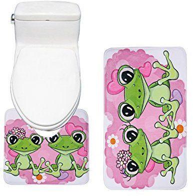 Amagical Cute Frog Animal lovers Flannel Bathroom Mat Set ( Bathroom Mat + Toilet Contour Rug )
