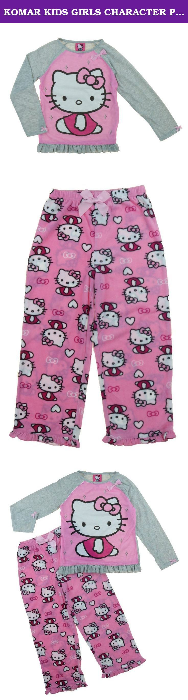 KOMAR KIDS GIRLS CHARACTER PAJAMA SET (6X, Hello Kitty 2-Piece Set). GIRLS CHARACTER PAJAMA SET by KOMAR KIDS BAT GIRL, WONDER WOMAN MY LITTLE PONY or HELLO KITTY Flame resistance Machine washable Imported Content: 100% polyester Sizing: 2T-6X Care Instructions: Turn garment inside out Machine wash cold Gentle cycle with like colors Use non-chlorine bleach when needed To retain flame resistance use detergent only Do not use soap Tumble dry low Remove promptly Iron on lowest setting.