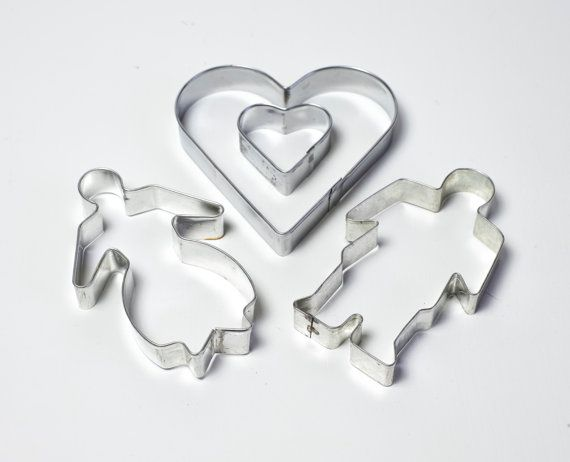 Scandinavian Christmas Cookie Cutters Vintage Cookie Cutter Set of 4 Traditional Swedish Gingerbread Man & Woman Hearts Xmas Wedding Baking