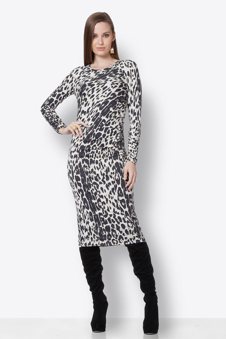 Midi Dress with Animal Print