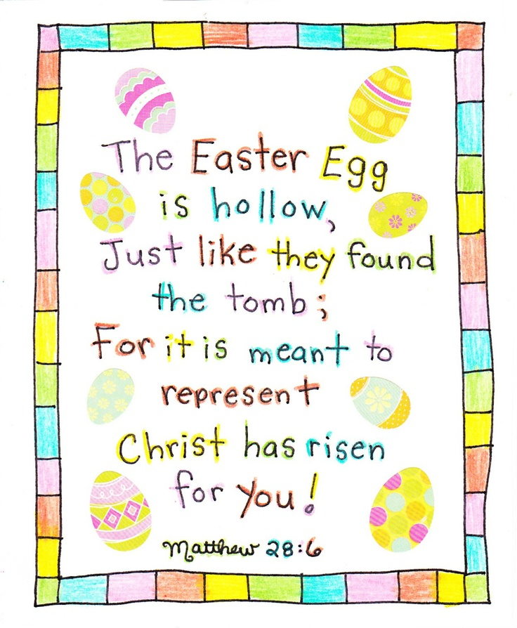 Empty Egg Poem <3 At Easter-time, many fill their plastic eggs with candy or small treats. But an even better egg-filler is nothing. Nothing? For nothing is precisely what they found in Jesus' tomb on Easter Sunday!  He is alive!!!  He is no longer here!
