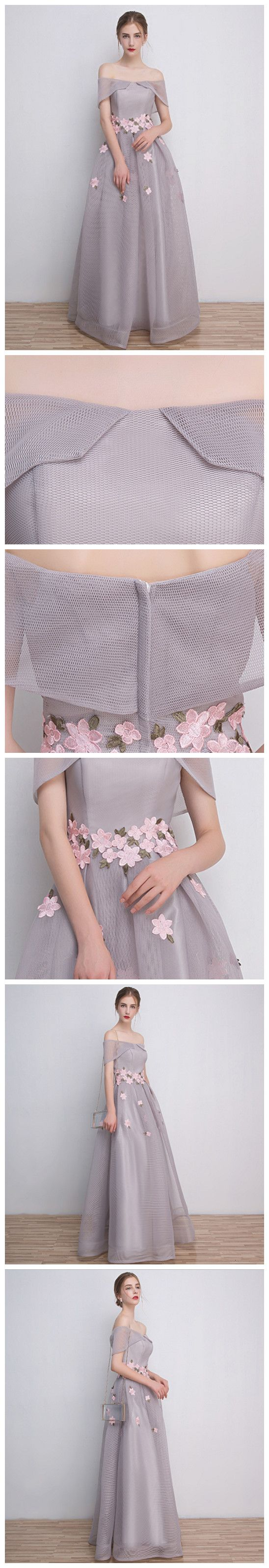 CHIC A-LINE OFF-THE-SHOULDER GRAY TULLE APPLIQUE MODEST PROM DRESS EVENING DRESS AM432
