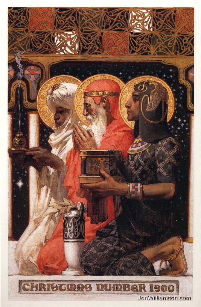 Three Wisemen: J C Lyendecker Also called the 3 magi or the three kings. They follow the star to find the baby Jesus at King Herod's orders. They bring the messiah gold, frankinscents and myrrh. There names are Gaspar, Balthazar and Melchior.