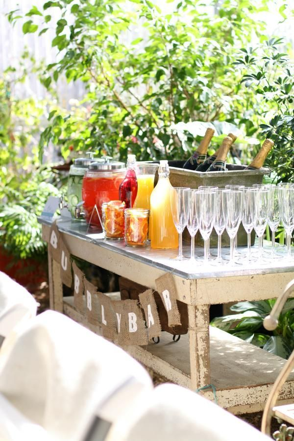 Outdoor rustic bubbly bar display for summer