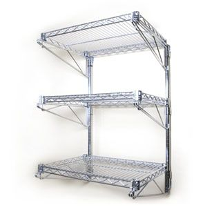 "18""d Adjustable Wall Mounted Wire Shelving, 3 Tier Wall Shelf  - possible use wall hung dish rack?"