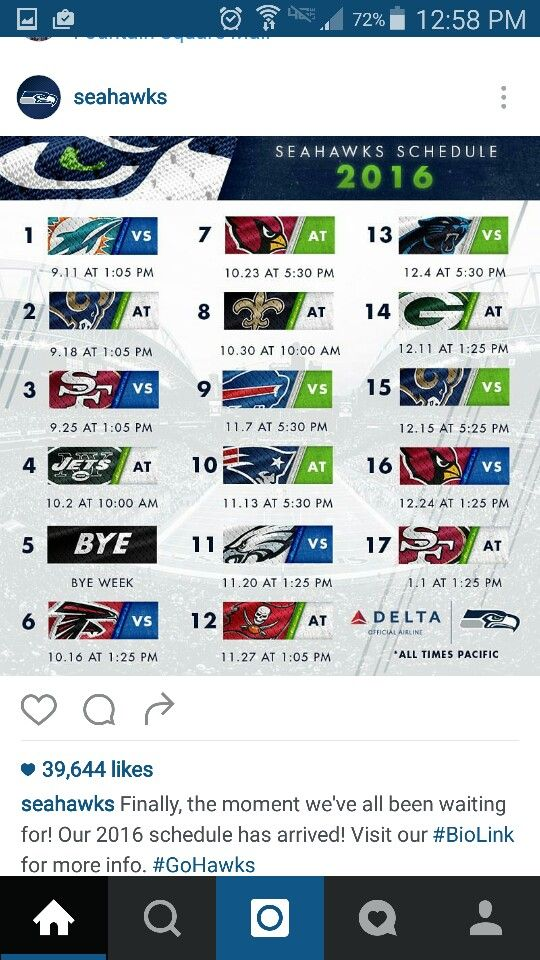 2016 Seahawks Schedule  Only 16 more Sundays without football...I better start stretching