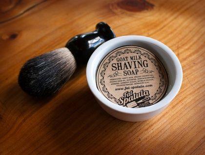 Goats Milk Shaving Soap with Pure Badger Hair Brush Bliss in a dish - If you have to shave, you might as well do it in style.   Handmade Goats milk shaving soap in a ceramic dish combined with a pure badger hair brush makes for a pretty smooth shaving experience. Stop using the expensive foam in a can and shave like your grandad (or grandma) did.