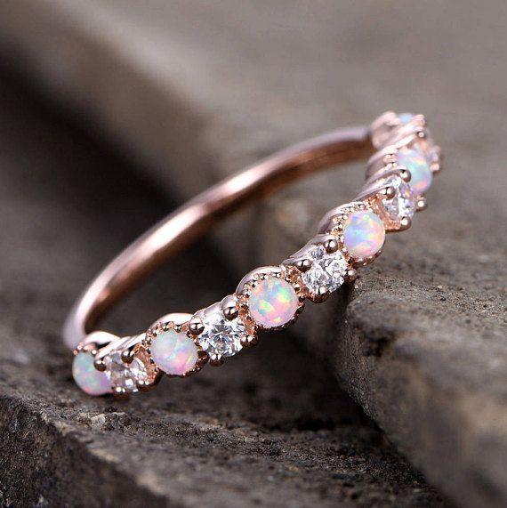Opal Wedding Ring/Opal ring/Opal Wedding Band/Rose Gold Plated/Sterling Silver/CZ Diamond Enternity band/Vintage Opal Diamond Ring