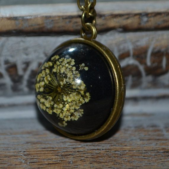 Queen Anne Lace Resin Spherical pendant on a by KitschKatKeepsakes