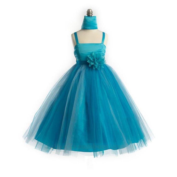 Festliches Kinderkleid Sally Satin mit Tüll Größe 134